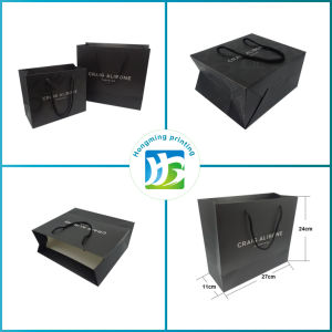 Luxury Matte Black Paper Bag with Your Own Logo pictures & photos