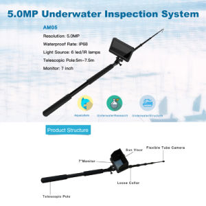 "5~7.5m Telescopic Pole 1080P Handheld 5MP Underwater Inspection System with 7"" Screen Digital HD LCD DVR Monitor & Recorder pictures & photos"