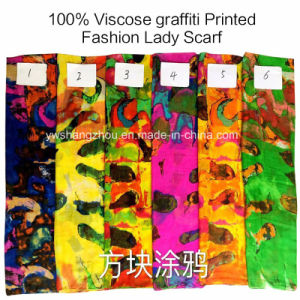 2017 Hot Sale Fashion Ladies Viscose Graffiti Printed Designs Scarf pictures & photos