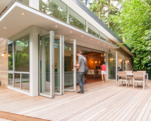Exterior Lowes Glass Aluminum Folding Door Price pictures & photos