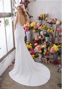 Voyage Double Straps Sweetheart Backless Belt Column Destination Bridal Dress pictures & photos