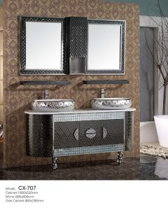 Modern Stainless Steel Bathroom Cabinet with Basin on The Countertop pictures & photos