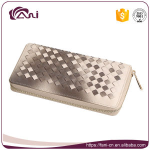 Fashion Design Cross Wallet with Zipper, PU Leather Cheap Women Wallet pictures & photos