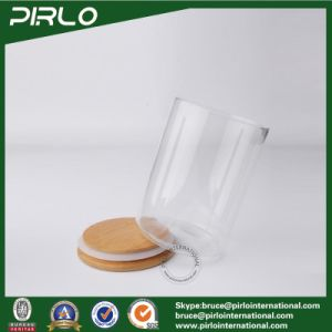 300ml 10oz Clear Borosilicate Glass Jar with Sealed Bamboo Wood Lid 65mm Diameter Empty Dry Food Cookie Storage Glass Jar pictures & photos