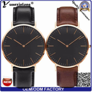 Yxl-007 2016 Fashion Men′s Watch Custom Logo Watch Genuine Leather Stainless Steel Dw Model Black Face and White Face Quartz Watch pictures & photos