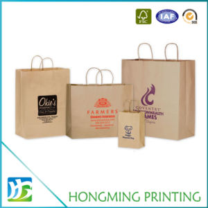 Different Sizes Logo Printed Kraft Shopping Paper Bag pictures & photos