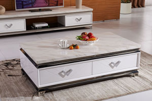 Simple Stainless Steel White Marble Coffee Table with 4 Drawers pictures & photos