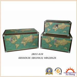 Wooden Decorative Vintage Beige World Map Print Storage Trunk Set of 3 pictures & photos