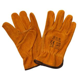 Wing Thumb Cow Split Leather Industrial Work Gloves Hand Protective Driver Gloves pictures & photos