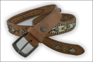 Ethnic Rhinestone Genuine Leather Belt pictures & photos