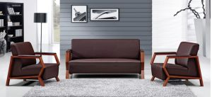 China Office Furniture Leather Wood Leg Office Sofa (HX-CF022) pictures & photos