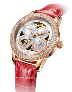 Automatic Diamond Four Leaf Clover Ladies Wrist Watch pictures & photos