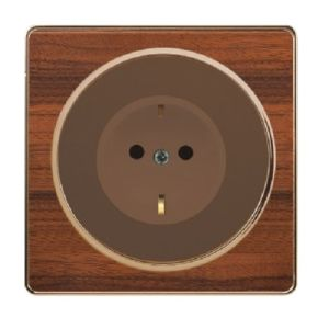 British Standard16A Black Wood-Textured German-Style Wall Socket Outlet pictures & photos