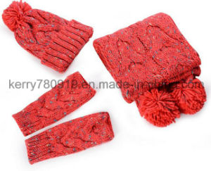 Thick Knitted Gague 3pieces Set, Crochet 3piece Set pictures & photos