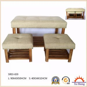 Home Furniture Stacking 3-PC Natural Wood Fabric Upholstered Bedroom Bench with Nailhead Trim pictures & photos