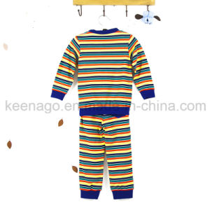 Girls Organic Cotton Fashion Popular Kid′s Long Sleeve Pajamas Suit pictures & photos
