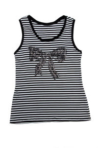 Ladies Bowknot Striped Vest pictures & photos