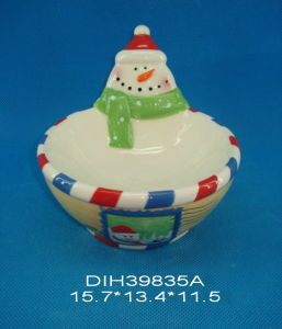 Hand-Painted Ceramic Snowman Candy Bowl pictures & photos