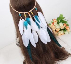 Hair Accessories Hair Band Indian Peacock Feather Pendant Headband Leaf Rope Knitted Belt Elastic Hairband Jewelry