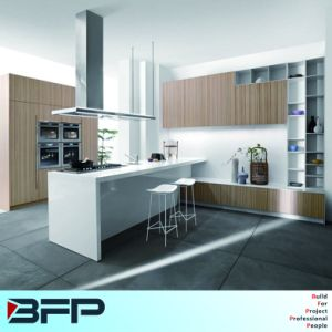 Economy Melamine Kitchen Cabinet with White Island pictures & photos