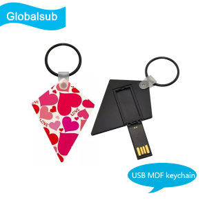 Sublimation Gift USB MDF Keychain with Heat Transfer Blank pictures & photos