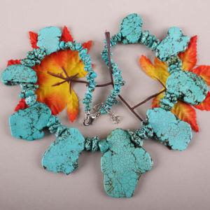 Blue Howlite Turquoise Random Gem Bead Necklace (PE003)