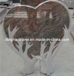 Heart Style Granite Headstone with Double Tree (DH-T047)