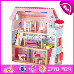 New Products Lovely Children Wooden Dollhouse Kits W06A100 pictures & photos