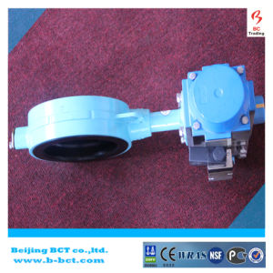 Double acting pneumatic actuator wafertype butterfly valve BCT-P-WBFV-03 pictures & photos