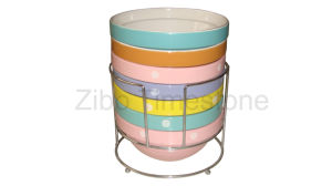 6.5′′ Stoneware Stackable Bowl With Metal Rack (TM12018) pictures & photos