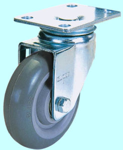 Threaded Stem PU Caster with Dual Brake (Gray) pictures & photos