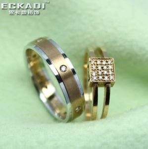 18k Gold Zirconia Lovers′ Rings (RW775G, RW777M)