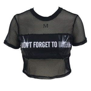 Metallic Panel Insert Mesh Crop Top pictures & photos