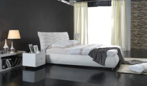 Modern Europe Leather Double Soft Bed (6055) pictures & photos