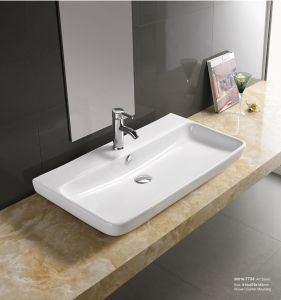 Luxury Sanitary Ware Lavatory Semi Recessed Wash Sink 30016 pictures & photos