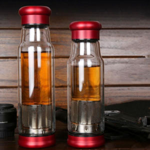 Double Wall Glass Sport Cup with Filter Tea Cup Double Wall Portable Cup pictures & photos
