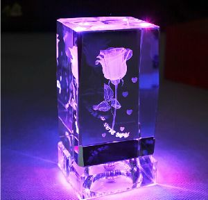 Colorful 3D Laser Crystal Rose Flower Cube (KS25223) pictures & photos