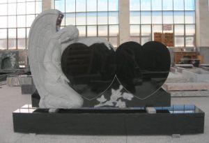 Double Heart Black Granite Tombstone