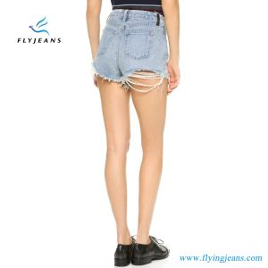 Hot Sale Fashion Blue Skinny Frayed Distressed Mini Pants Ladies/Women Denim Shorts by Jeans Manufacturer (Shorts E. P. 222) pictures & photos