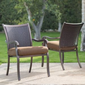 Well Furnir Rattan Wicker Dining Chair and Steel Slatted Table Set pictures & photos