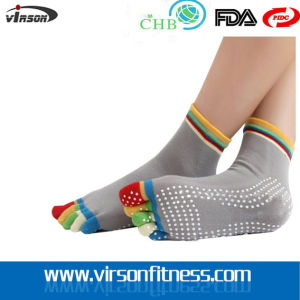 Woman Fashion Skid 5-Toe Jacquard Knitted Socks