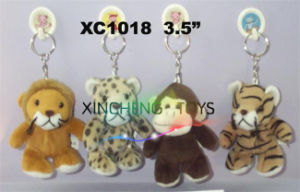 Assorted Plush Keychain, Plush Wild Animal Keychain/Plush Tiger/Monkey/Lion/Leopard