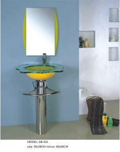 Tempered Glass Wash Basin with Silver Mirror pictures & photos