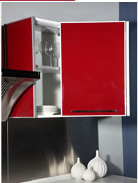 Wine Red Modern Glossy Acrylic Kitchen Cabinet (Zv-011) pictures & photos
