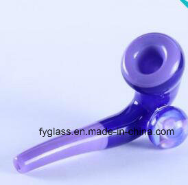 Glass Hand Pipe with Blue and Purple Glass Sherlock 5inch Long pictures & photos
