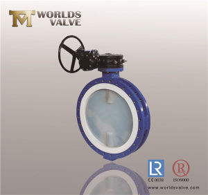 Double Flange PTFE PFA Liner U Type Section Butterfly Valve (D341X-10/16)