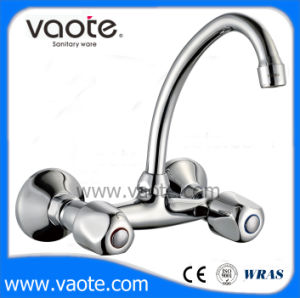 Double Handle Sink Wall Faucet/Mixer (VT61202) pictures & photos