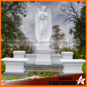 Large Granite White Marble Gravestone Angels with Wings pictures & photos