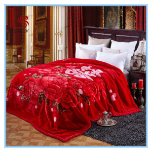 Super Soft Thick Flowers 2 Ply Wedding Red Raschel Blankets pictures & photos