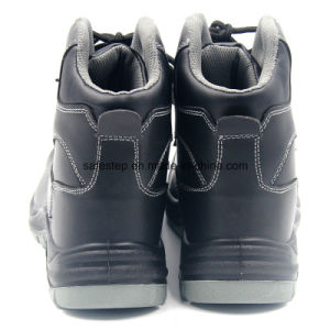 High Cut Smooth Action Leather Black Steel Safety Shoe pictures & photos